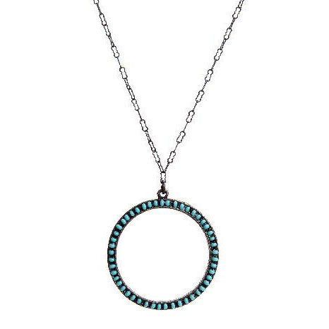Rebel Designs Open Circle Blue Turquoise Necklace