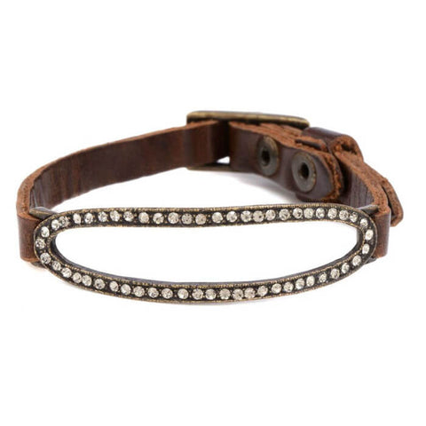 Rebel Open Oval Crystal Leather Bracelet