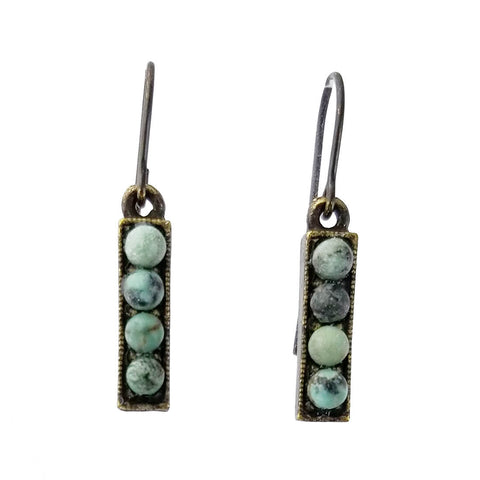 Rebel Design Small Stick African Turquoise Earrings