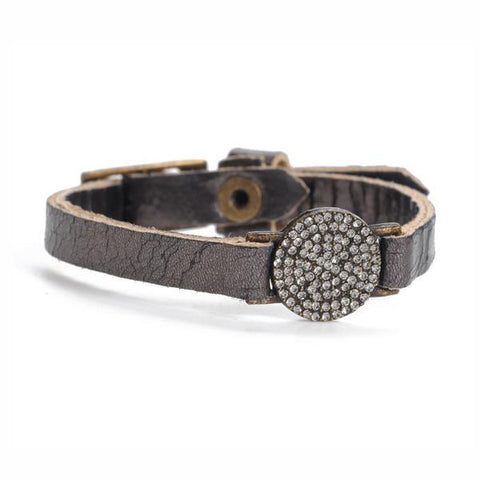 Rebel Encrusted Crystal Disc Leather Bracelet