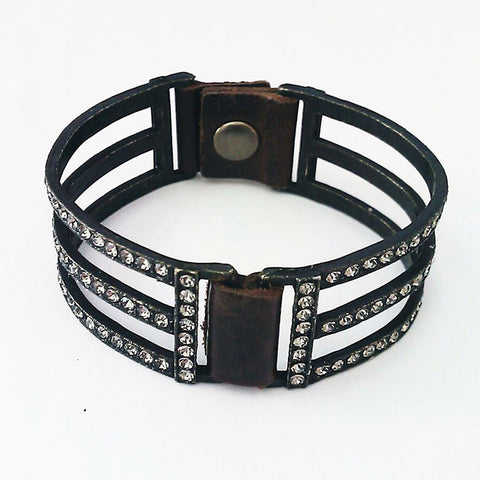 Rebel Blackened Brass Swarovski Crystal Bracelet
