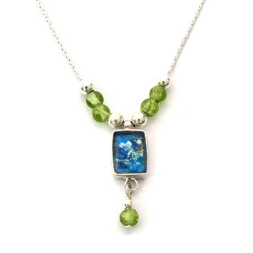 Rectangle Roman Glass Necklace with Peridot