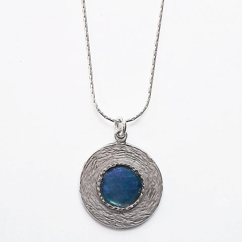 Roman Glass Round Textured Pendant Necklace
