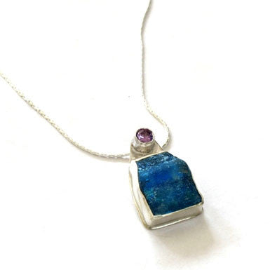Roman Glass with Amethyst Necklace Side View