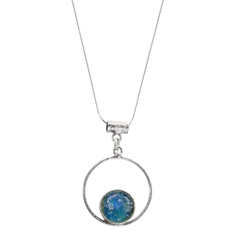 Roman Glass Circle in Hoop Sterling Silver Necklace