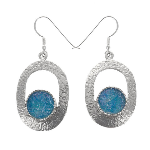 Roman Glass Circle Sterling Silver Oval Earrings