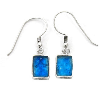 Iridescent Blue Roman Glass Earrings