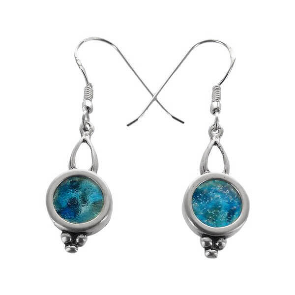 Roman Glass Elegant Circle Pomegranate Earrings
