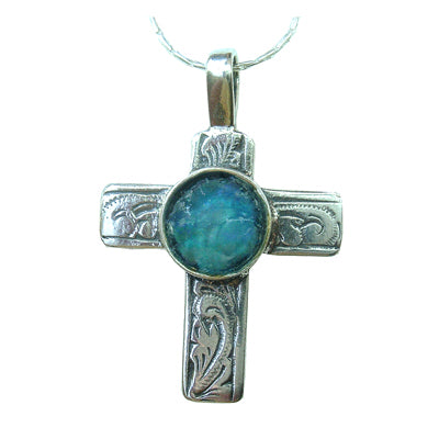 Roman Glass Floral Cross Necklace