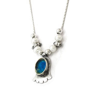 Roman Glass Hamsa With Pearls Necklace