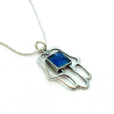 Roman Glass Hamsa Necklace