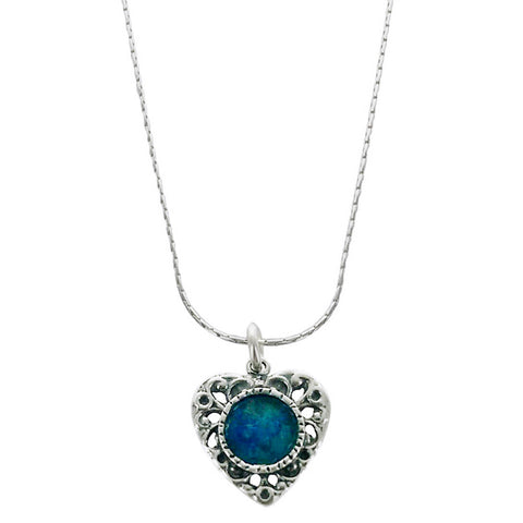 Roman Glass Heart Filigree Necklace