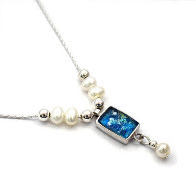 Rectangle Roman Glass Necklace with Pearls