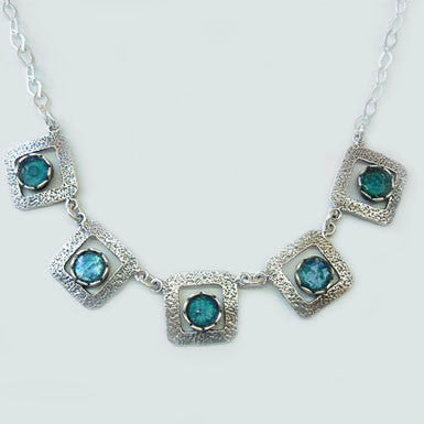 Roman Glass Circles with Sterling Silver Squares Necklace