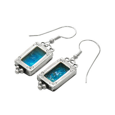 Roman Glass In Ornamental Sterling Casing Earrings