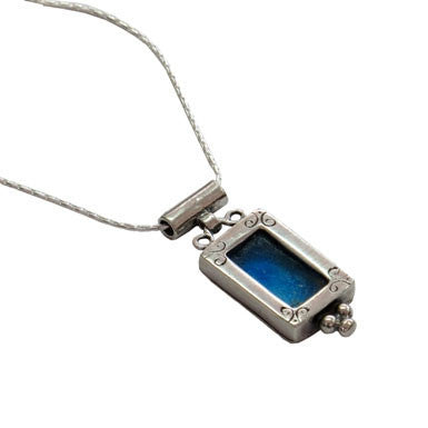 Roman Glass On Ornamental Sterling Silver Pendant Necklace