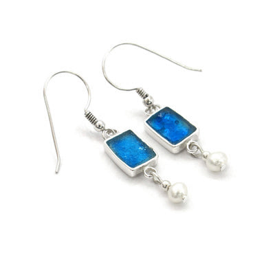 Blue Roman Glass Rectngle Earrings with Pearl Drop