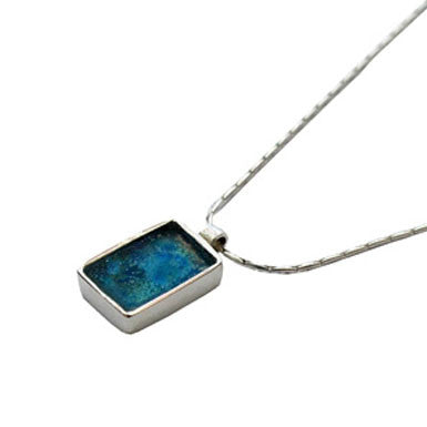 Roman Glass Rectangle Pendant Necklace