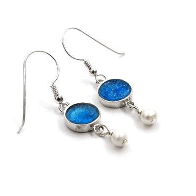 Blue Roman Glass Earrings with Pearl Drop