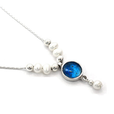 Round Roman Glass Necklace with Pearls