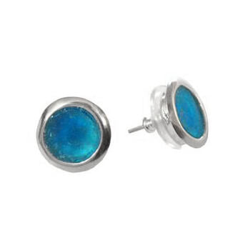 Round Blue Roman Glass Post Earrings