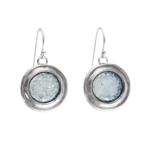 Israeli Roman Round Sterling Silver Ithil Earrings