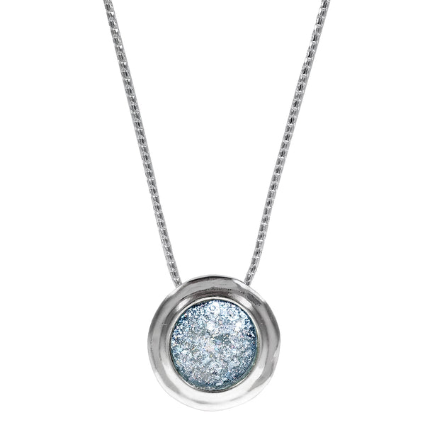 Israeli Roman Glass Bright Sterling Silver Round Pendant Necklace