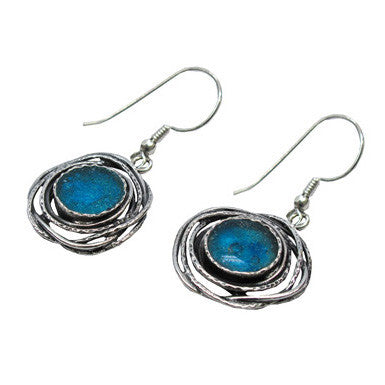 Roman Glass Sterling Weaved Circle Earrings