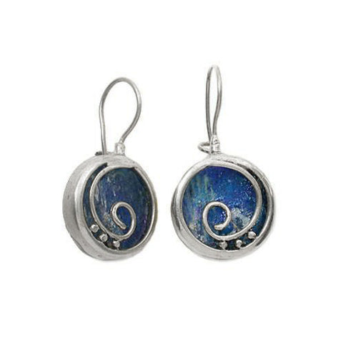 Roman Glass Spiral In Circle Earrings