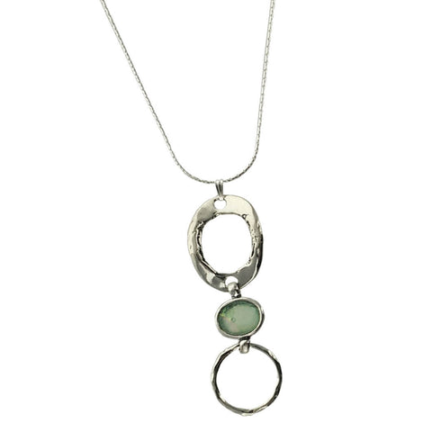 Roman Glass Sterling Double Hoop Necklace