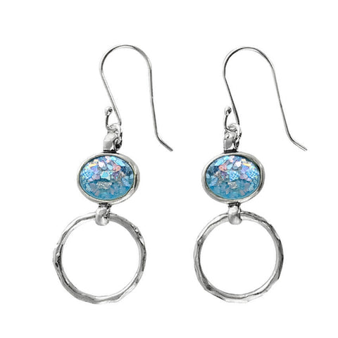 Roman Glass Sterling Hoop Earrings