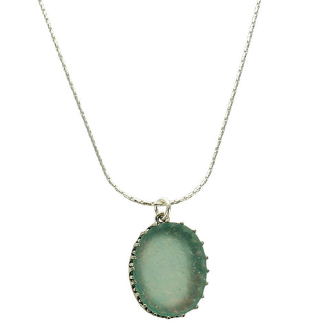Roman Glass Sterling Silver Oval Pendant