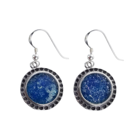 Roman Glass Sterling Silver Round Earrings
