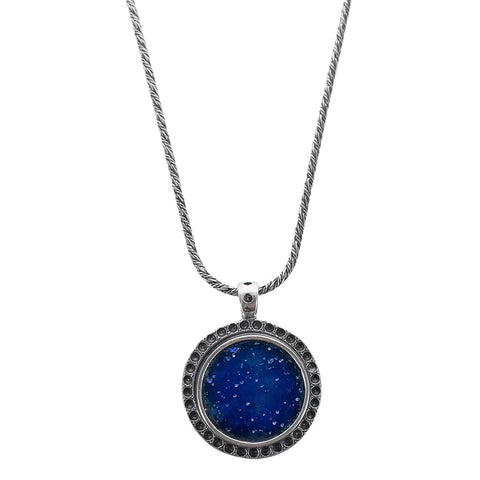 Roman Glass Sterling Silver Round Pendant Necklace