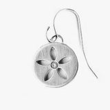 Sterling Silver Diamond Flower Earrings