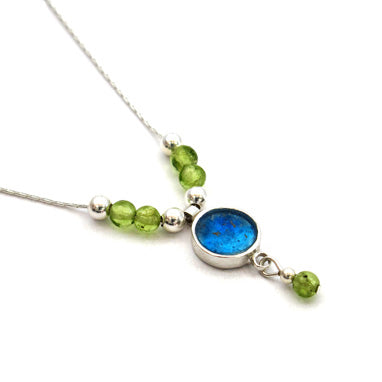 Round Roman Glass Necklace with Peridot