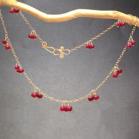 Ruby Clusters Necklace