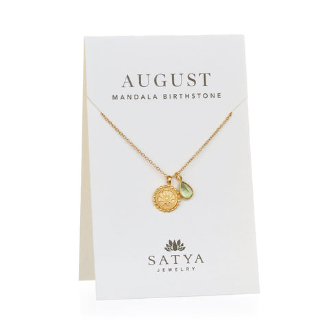 Satya Mandala August Birthstone Necklace On Card