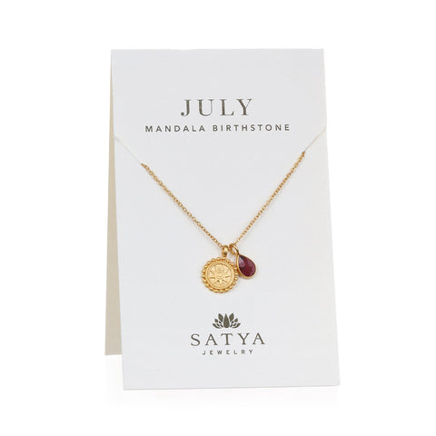 Satya Mandala July Birthstone Necklace On Card