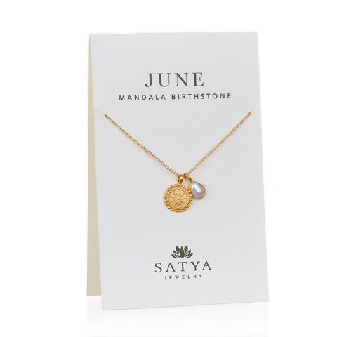 Satya Mandala June Birthstone Necklace On Card
