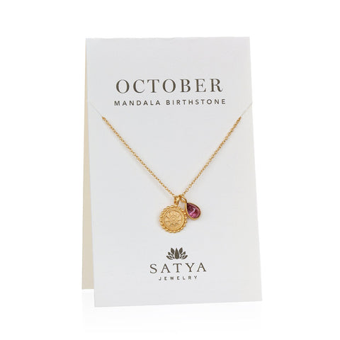 Mandala October Birthstone Necklace On Card