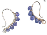 Blue Tanzanite Sterling Wrapped Earrings