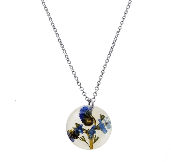 Shari Dixon Forget Me Not Flower On Shell Necklace