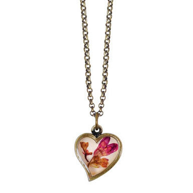 Shari Dixon Coral Bell Flower Heart Necklace