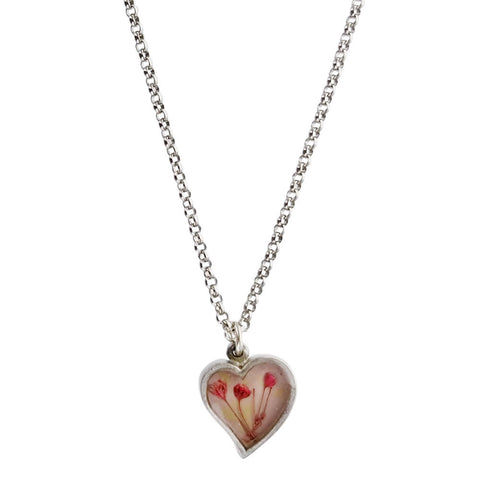 Shari Dixon Pink Baby Breath Flower Heart Necklace