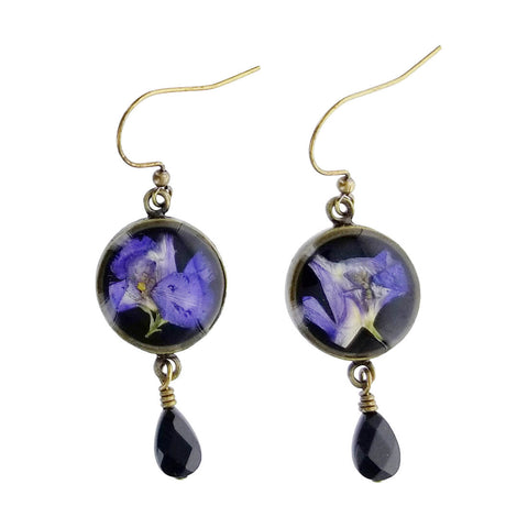 Shari Dixon Purple Larkspur Onyx Drop Earrings