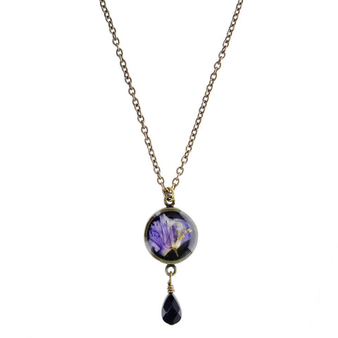 Shari Dixon Purple Larkspur Onyx Drop Necklace