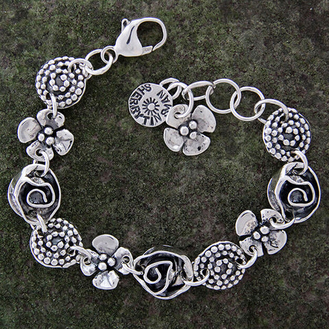 Sherry Tinsman Beaded Spiral Dogwood Rose Bracelet