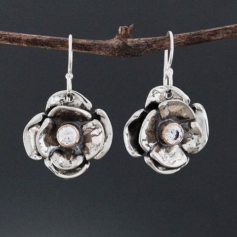 Sherry Tinsman Double Dogwood CZ Earrings