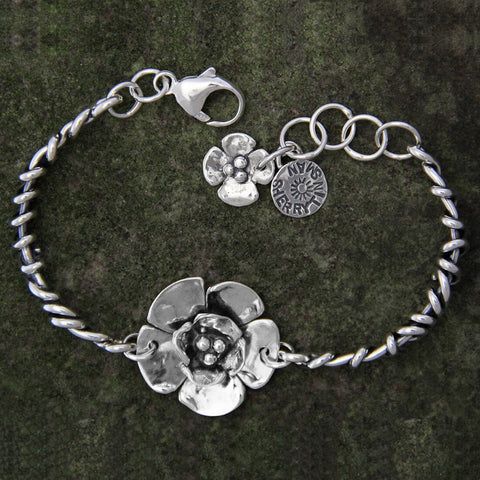 Sherry Tinsman Double Dogwood Flower Wrapped Vine Bracelet